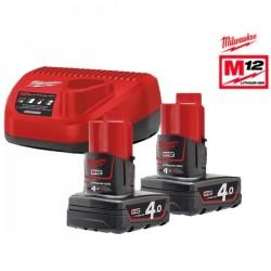 MILWAUKEE Pack NRG 12V batterie 2x4Ah + chargeur - 4933459211