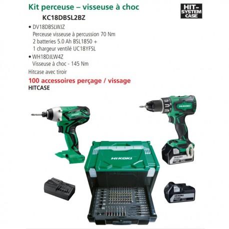 Nouveau kit Perceuse Percu + Visseuse à choc + 100 accessoires 2 batteries 18V 5Ah 1 chargeur