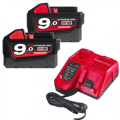 MILWAUKEE Pack M18 NRG-902 18V 2x9.0Ah RedLithium-Ion - 4933451422