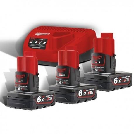 MILWAUKEE Pack M12 NRG-603 batteries 12V 3x6.0Ah - 4933459208